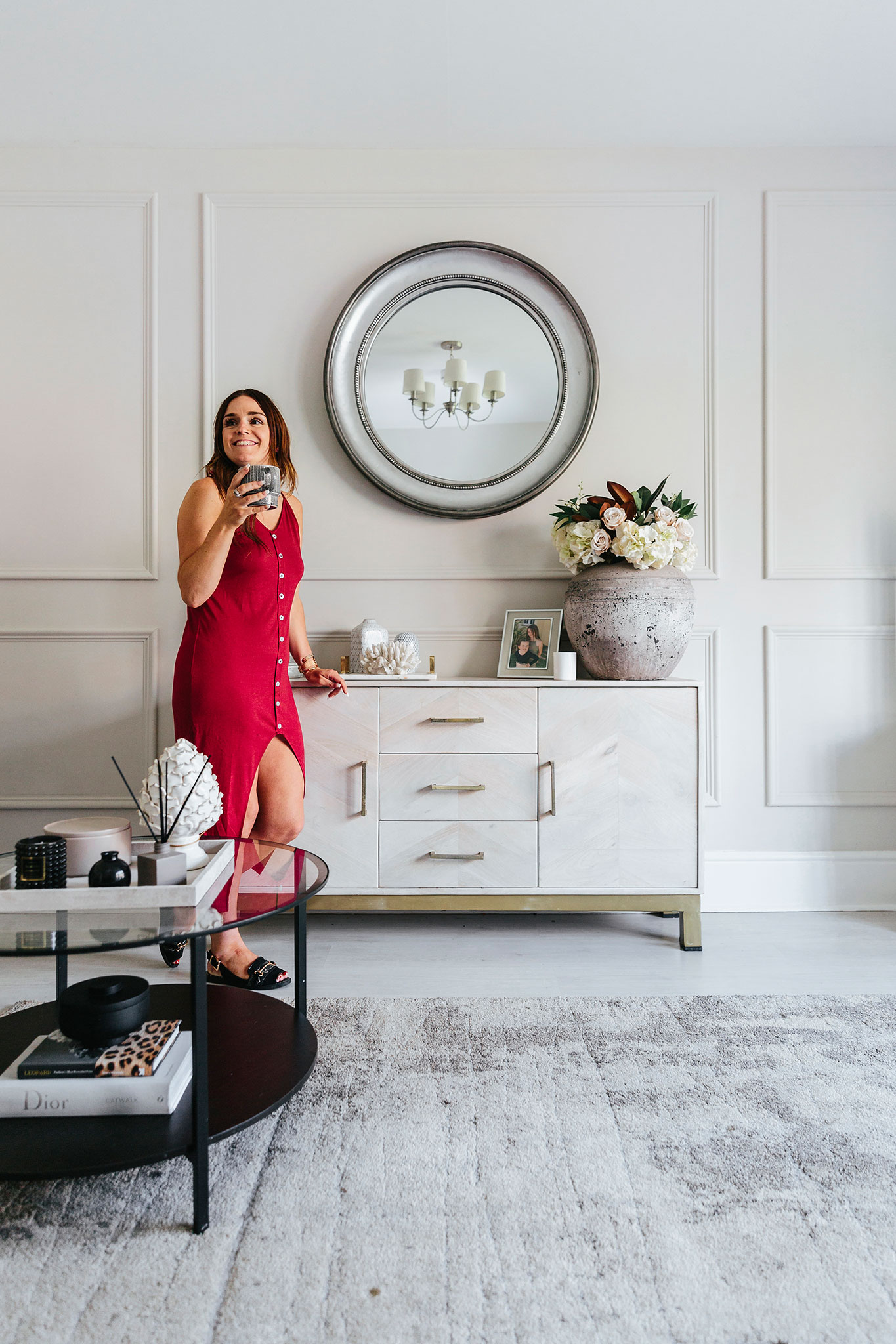 Victoria Baker in her classic traditional glam living room