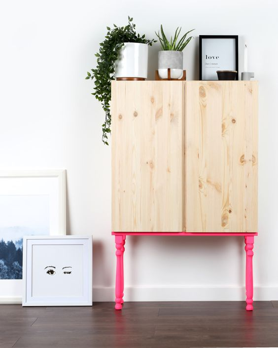 23-an-Ivar-cabinet-placed-on-hot-pink-neon-legs-is-a-gorgeous-idea-which-wont-take-much-time-to-recreate