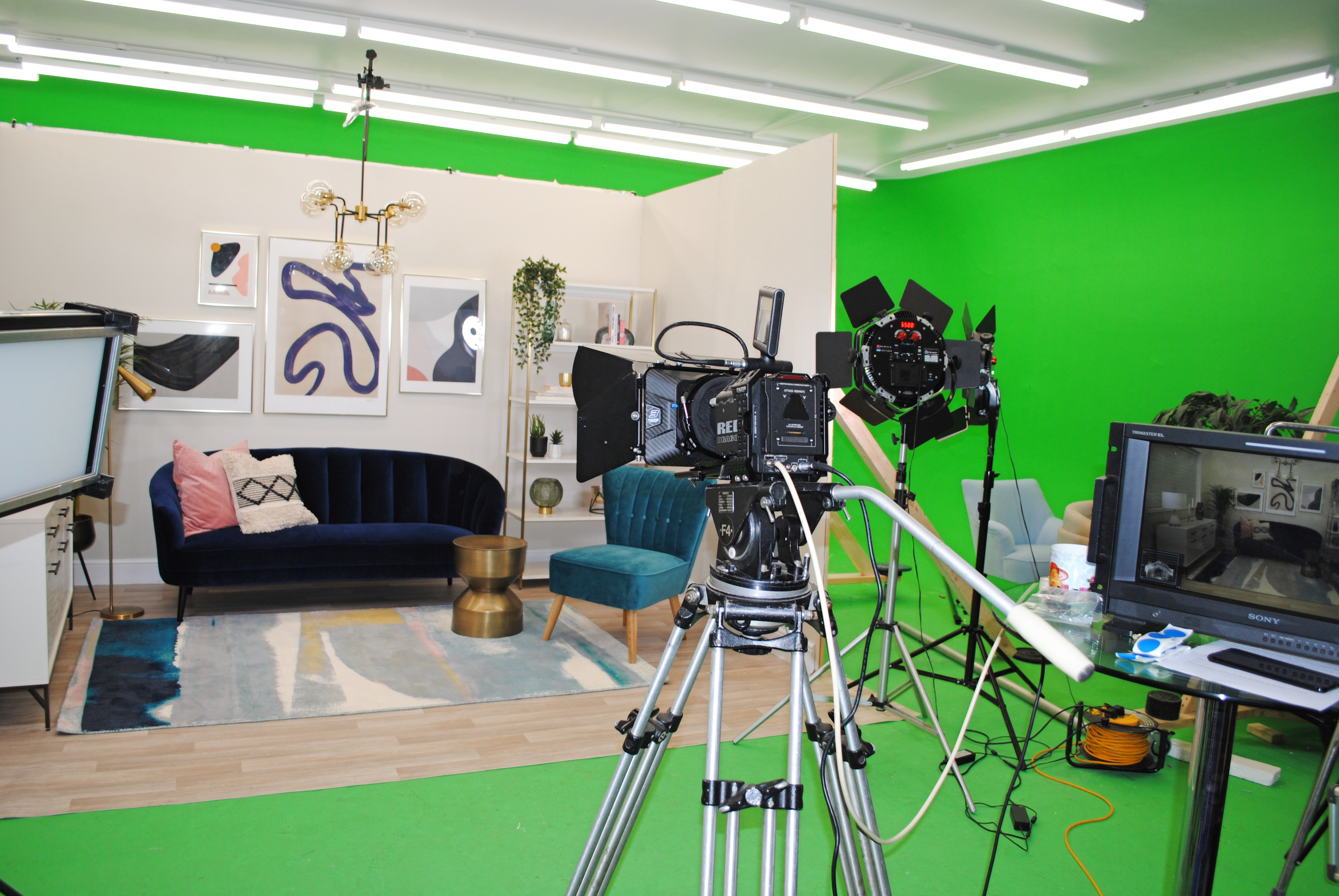 TV set of living room for filming