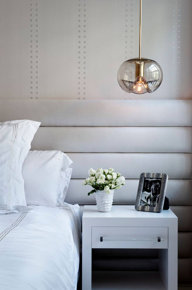 chelsea townhouse white fresh bedroom with pendant wall lighting and statement upholstered headboard