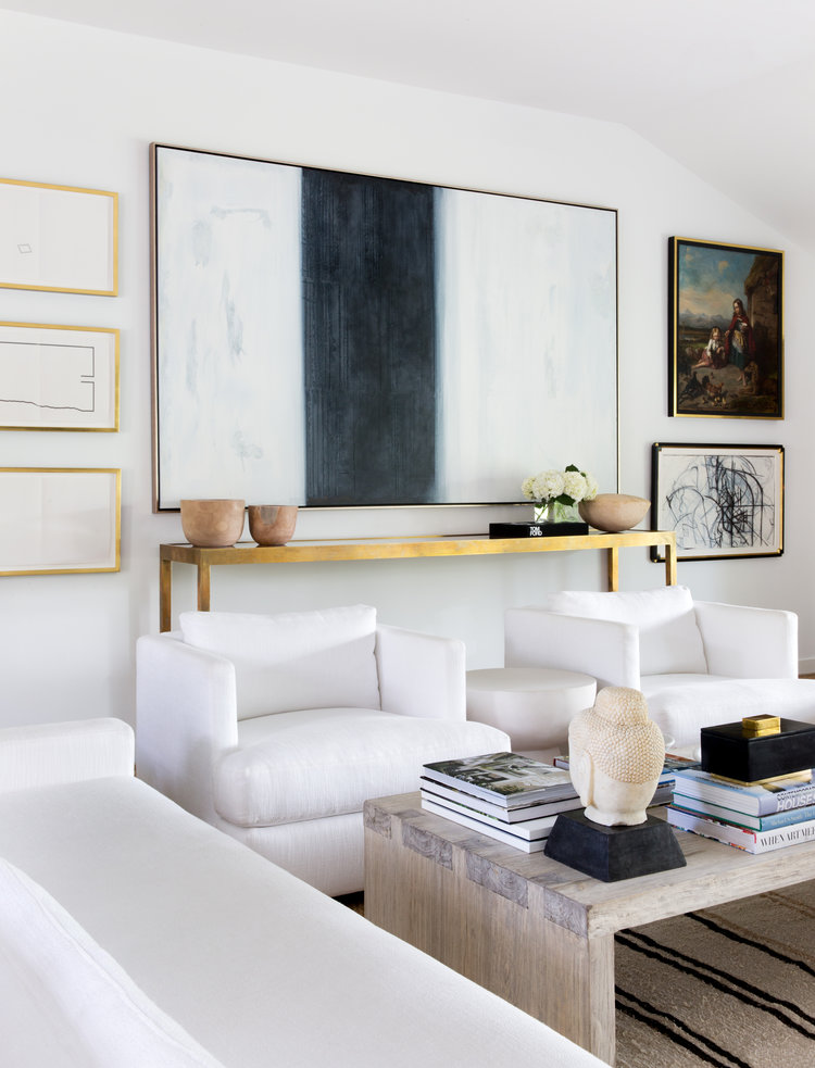 modern classic living room with abstract art and gallery wall