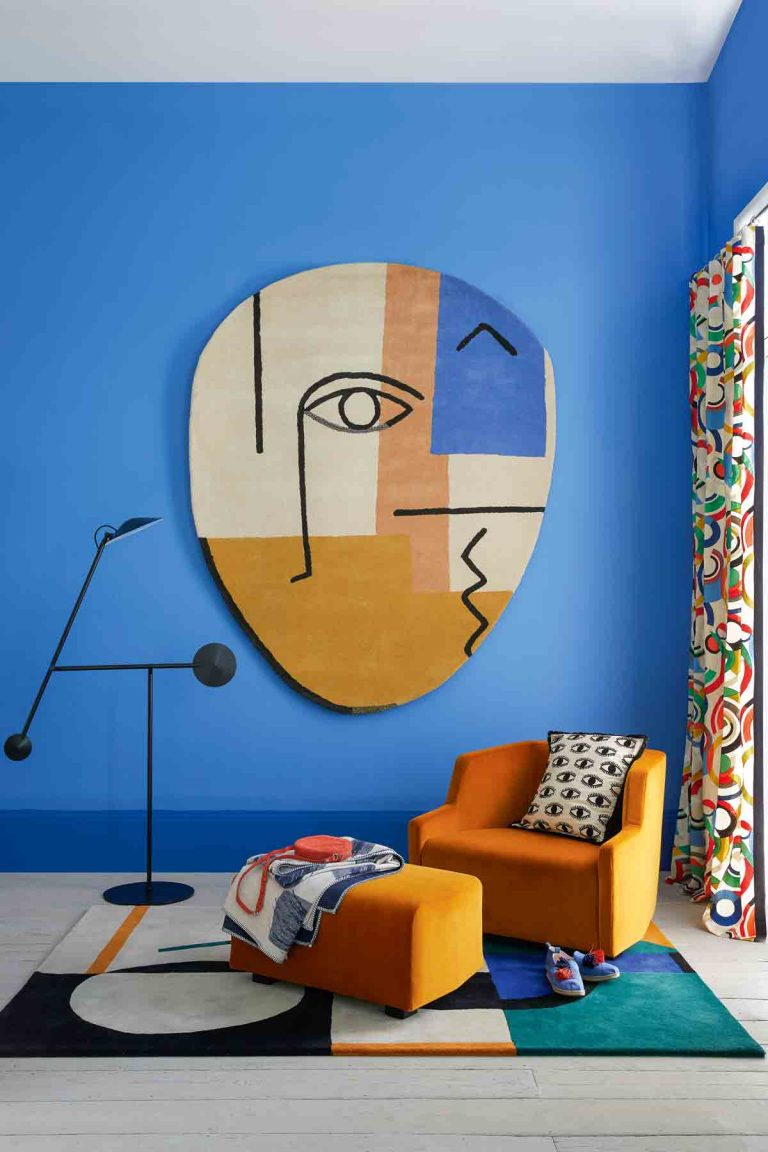 bold abstract living room in bright primary colours