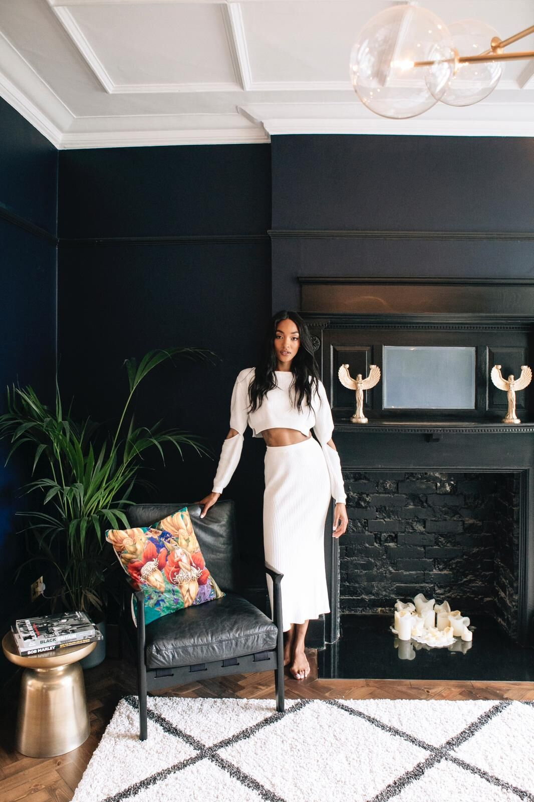 Jourdan Dunn in her dark and dramatic living room