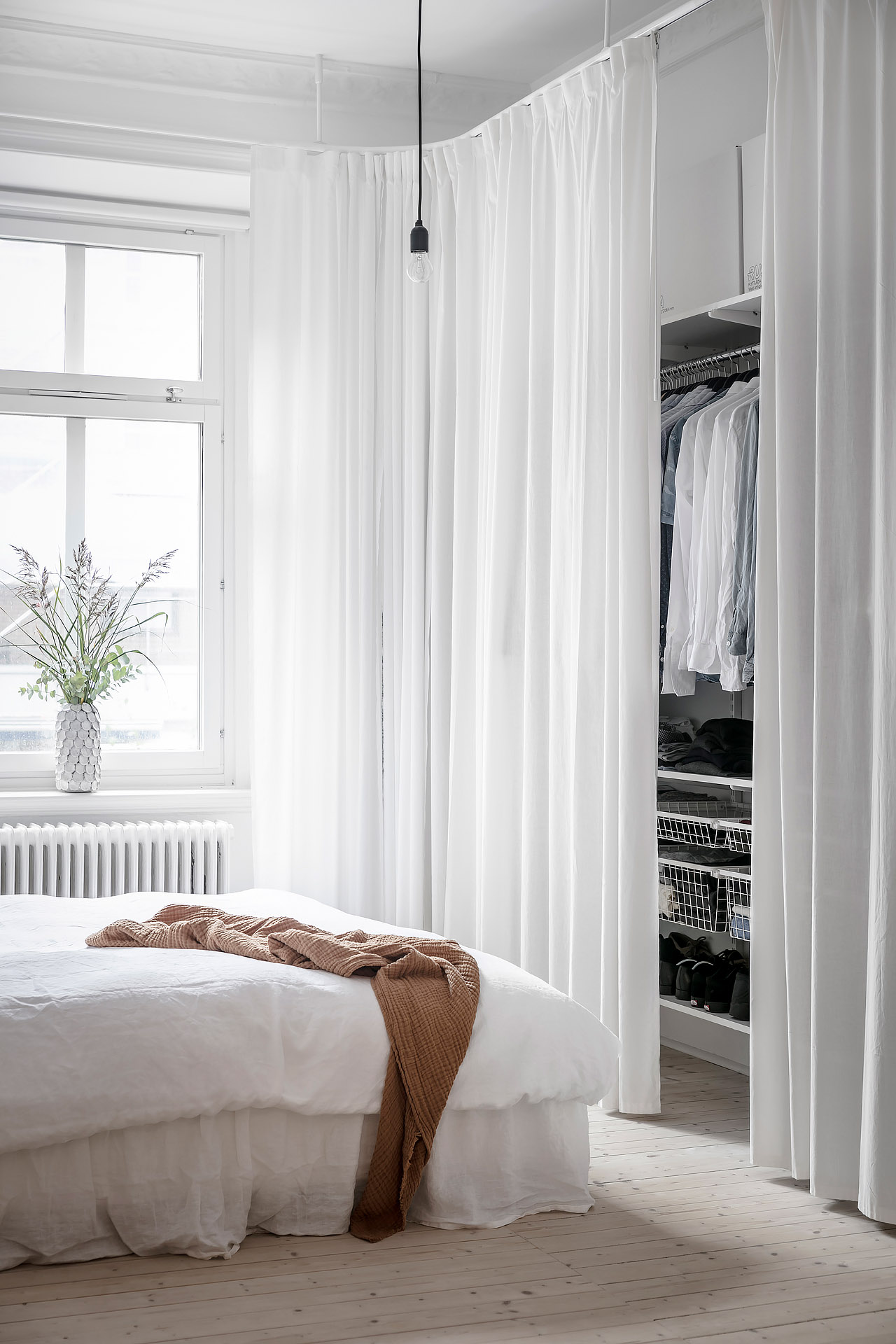 white curtains in bedroom