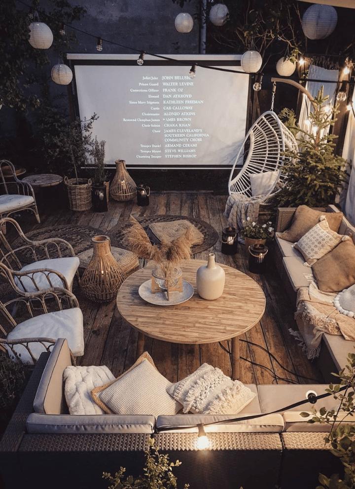 design ideas for garden entertaining outdoor cinema