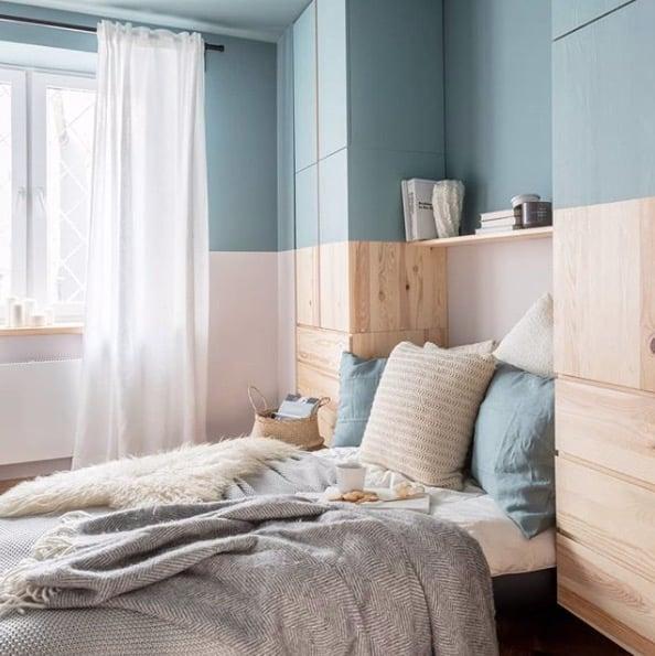 bespoke wardrobe framing the bed ikea ivar hack