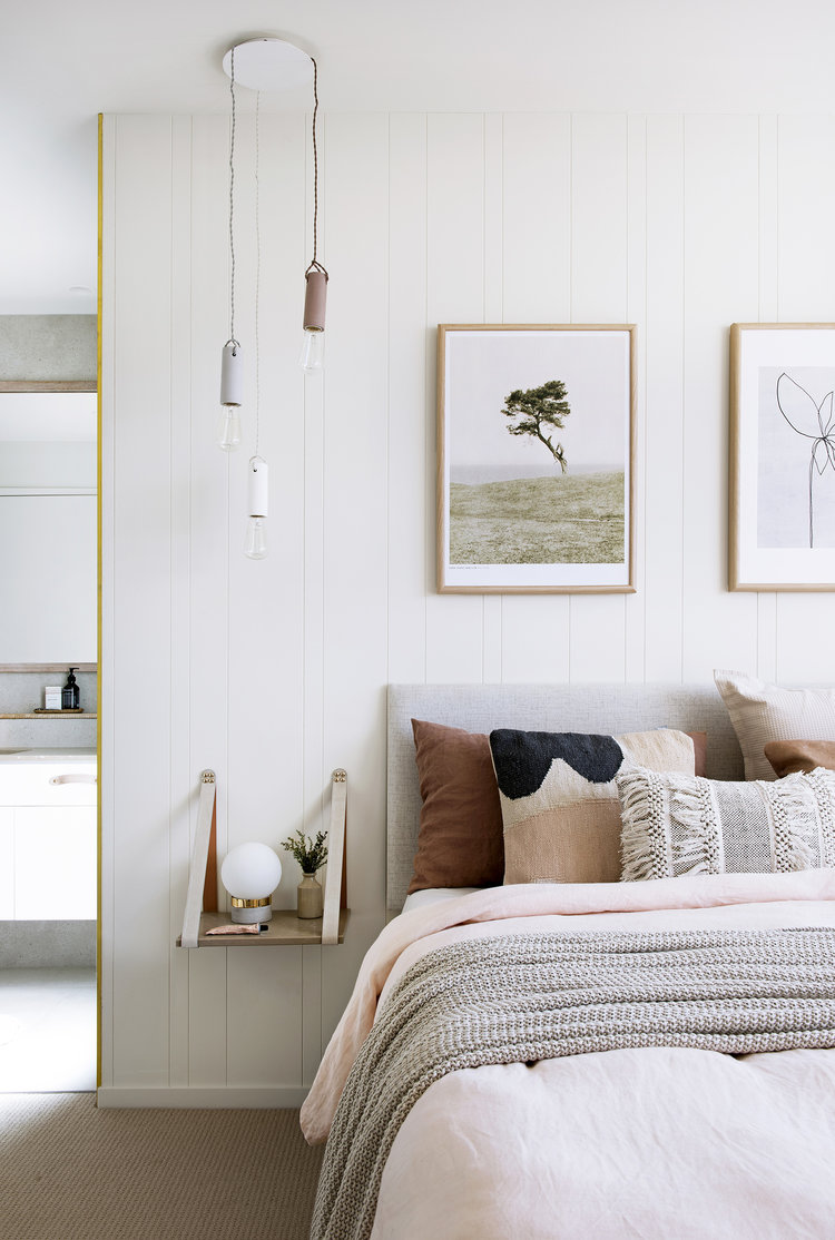 beautiful calming bedroom with textures and neutral colours for a scandinavian look