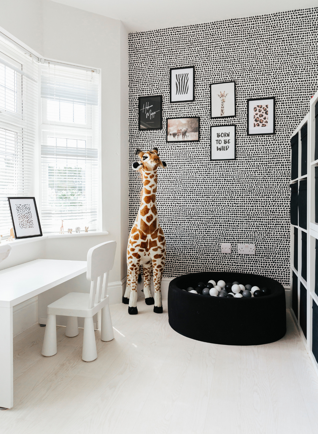 black and white monochrome playroom