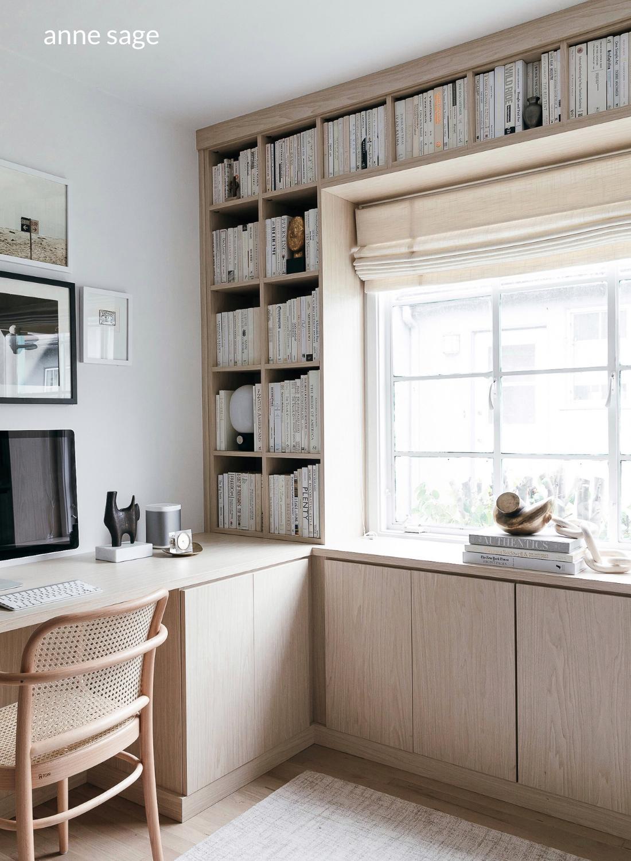 home office anne sage interior design light wood
